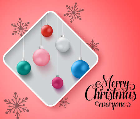 Christmas balls vector concept design. Merry christmas everyone text in empty space for messages with xmas balls element in frame and snowflakes in pink background. Vector illustration. Ilustrace