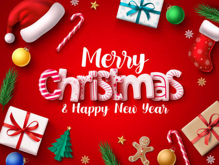Christmas vector banner design. Merry chistmas greeting 3d realistic typography text with xmas decoration elements of santa hat, sock, gift, balls, candy cane, pine leaves, and gingerbread in red background. Vector illustration.