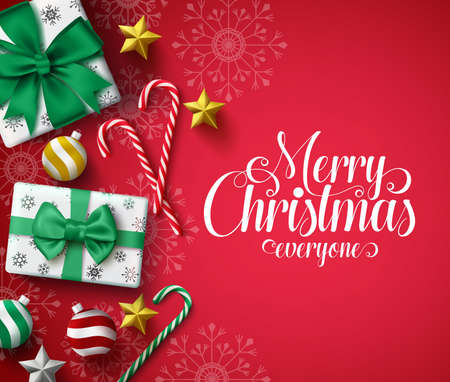 Christmas greeting in red vector background. Merry christmas text with xmas decoration of  gift, candy cane, ball, star and snowflakes pattern in background. Vector illustration. 일러스트