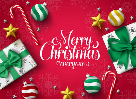 Christmas greeting vector banner design. Merry christmas typography greeting text for holiday season with decoration of xmas gift, ball, star and candy cane in red background with snowflakes pattern.  일러스트
