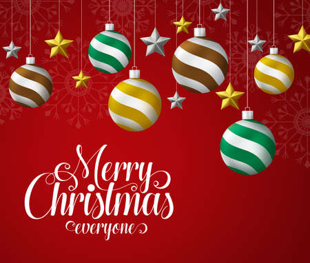 Christmas ball hanging vector design. Merry christmas everyone greeting text with xmas balls and stars decoration hanging in red background with snowflakes background. Vector illustration. 일러스트