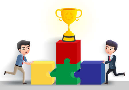 Business team building vector character concept. Business office employee building puzzle activity with golden cup trophy element in white empty background. Vector illustration.  イラスト・ベクター素材