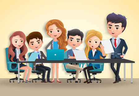 Business conference vector characters concept. Business characters office employee team meeting in conference for marketing sales in yellow empty room background. Vector illustration.