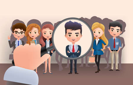 Business employee recruitment vector characters. Business character concept hiring applicant using magnifying glass in brown empty background. Vector illustration. Ilustrace