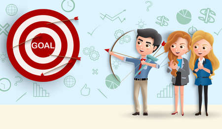 Business character team goals vector concept. Business people aiming target goal in dart by using archery for sales and marketing. Vector illustration.