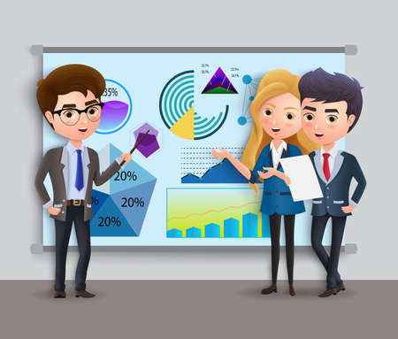 Business characters presentation vector concept. Business employee team presenting and showing sales and profit graph in whiteboard for sales and marketing. Vector illustration.