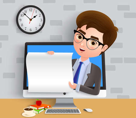 Business online presentor character vector concept. Business man sales employee presenting and talking in computer with desk while holding white empty paper. Vector illustration.
