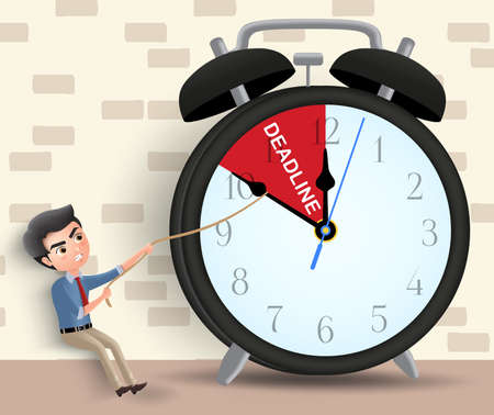 Business deadline vector character concept. Man business character pulling alarm clock arrow before deadline using rope in brown wall background. Vector illustration. Ilustrace