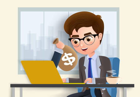 Online profit vector character concept. Business man character sending money online using laptop with hand holding sack and dollar sign in yellow empty background. Vector illustration.
