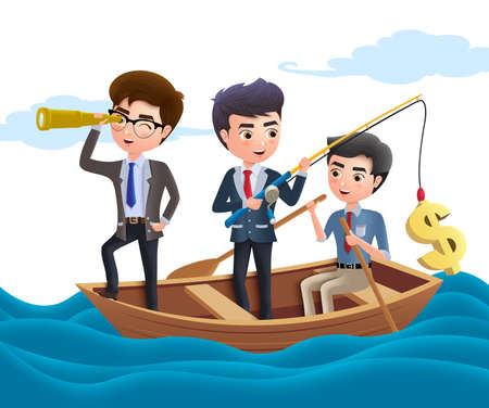 Business character boating vector concept. Business team characters fishing, boating, telescoping and catching money in sea. Vector illustration.
