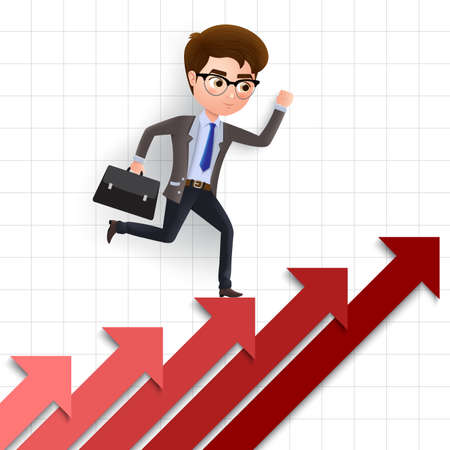 Business achievement vector character concept. Male business character climbing and running up stairs in red arrow for career achievement. Vector illustration. Ilustrace