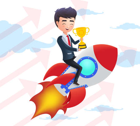 Business character achievement vector concept. Business man riding a rocket and holding golden cup trophy flying in the sky. Vector illustration.