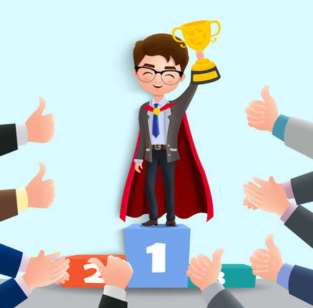 Business employee promotion vector character. Business male employee character with promotion achievement standing in stage holding trophy. Vector illustration.