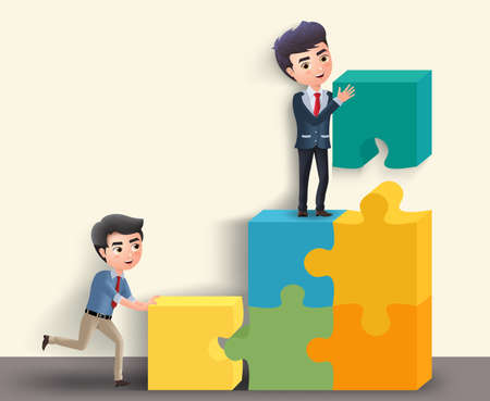 Business characters in team activity vector concept. Male business team of employees in building puzzle activity in yellow empty background. Vector illustration.  イラスト・ベクター素材