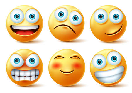 Smileys emojis and emoticons face vector set. Smiley emoji cute faces in happy, angry and funny facial expression isolated in white background. Vector illustration.