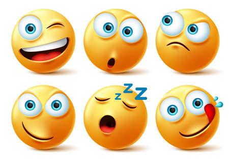 Conjunto de vector de caras de emoticonos sonrientes. Emoticonos de smileys de cara amarilla en travieso, soñoliento, hambriento, sorpresa y enojado en avatar realista 3d aislado en fondo blanco. Ilustración vectorial.