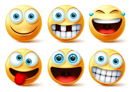 Smiley emojis vector face set. Smileys emoticons and emoji cute faces in crazy, funny, excited, laughing, and toothless facial expressions isolated in white background. Vector illustration.  イラスト・ベクター素材