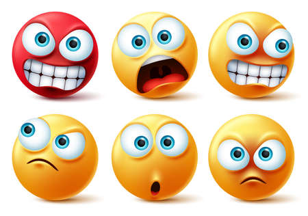 Smileys emoticons face vector set. Smiley yellow icon and emoticon faces with angry red, surprise, cute, crazy and funny facial expressions design elements isolated in white background. Vector illustration.
