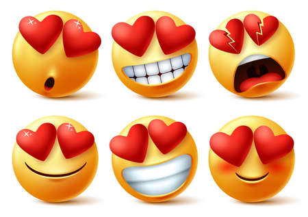 Smiley emoticons or emojis face with heart eye vector set. Smileys emoji of red hearts with in love, broken, blissful, happy and funny for love sign and symbol isolated in white background. Vector illustration.  イラスト・ベクター素材