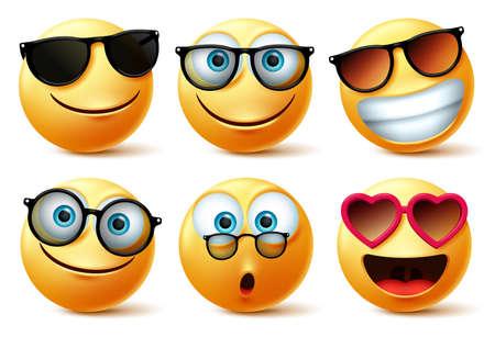 Emotikony buźki lub emotikony twarze w okularach przeciwsłonecznych i okularach wektor zestaw. Emotikony emotikonów lub ikona twarz ze zdziwieniem, urocza, szczęśliwa i zaskakująca odcieniami na białym tle. Ilustracja wektorowa.