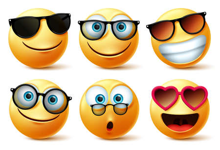 Smileys emoji or emoticon faces wearing sunglasses and eyeglasses vector set. Smileys emoticons or icon face head in surprise, cute, happy and surprise with shades isolated in white background. Vector illustration.