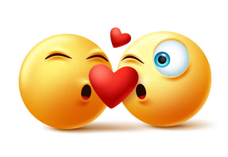 Smileys emoticon or emoji of couple kissing faces vector concept. Valentines smiley emojis kissing and in love with heart element in white background. Vector illustration. Vektorové ilustrace