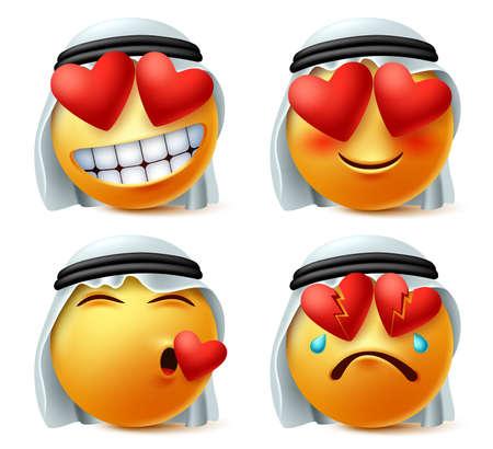 Emoticon árabe de corazón y amor vector emoji set. Cara linda del emoticon de Arabia Saudita enamorada, rota, herida y amada expresión con agal tradicional y ghutra aislado en fondo blanco.