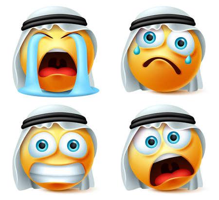 Emotikon arabski płacz emoji wektor zestaw. Arabski emotikon lub żółta emotikon emoji w płaczu, przerażeniu, zaskoczeniu i smutnej emocji z białym tradycyjnym odwilżem i tłem. Ilustracja wektorowa