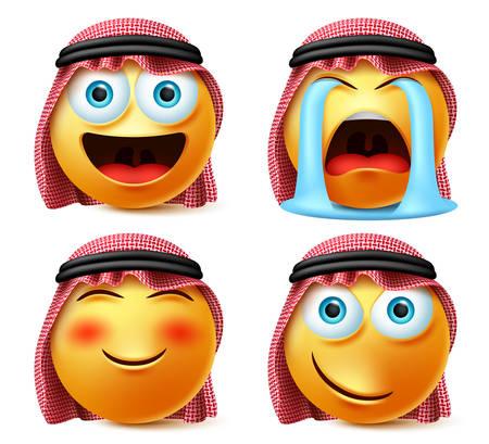 Conjunto de vector de emoji árabe saudita. Emojis y emoticonos se enfrentan a la cabeza del árabe saudita llorando con lágrimas, rubor, expresión facial traviesa aislada en fondo blanco. Ilustración de vector. Ilustración de vector