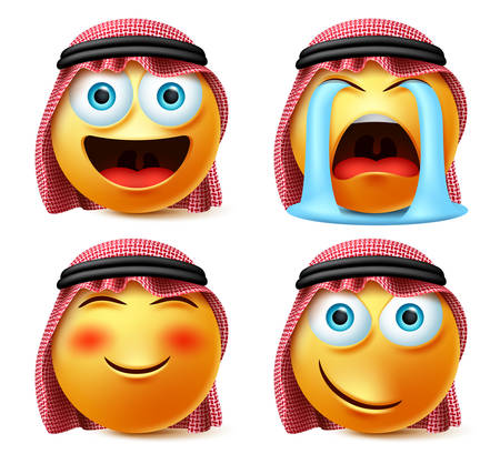Saudi arab emoji vector set. Emojis and emoticon face head of saudi arabian in crying with tears, blush, naughty facial expression isolated in white background. Vector illustration. Vector Illustratie