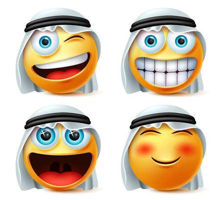 Arab emoticon or emojis vector set. Saudi arab emoticon face head with naughty and excited wearing traditional thwab isolated in white background. Vector illustration.