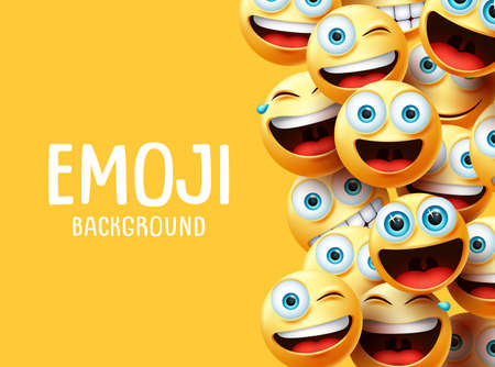 Emojis vector background. Funny smiley emoji background text with emoticon group face head in excited, surprise, smiling and happy expression in yellow empty space background. Vector illustration. Ilustracja