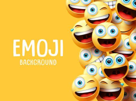 Tło wektor emoji. Zabawny tekst tła emotikonów emotikonów z głową grupy emotikonów w podekscytowanym, zaskoczeniu, uśmiechniętym i szczęśliwym wyrazie w żółtym tle pustej przestrzeni. Ilustracja wektorowa. Ilustracje wektorowe