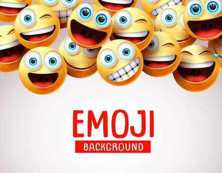 Emoji background vector template. Emoji background text with 3d realistic cute smiley emojis face in happy, funny, surprise and naughty emotion in white empty background. Vector illustration.