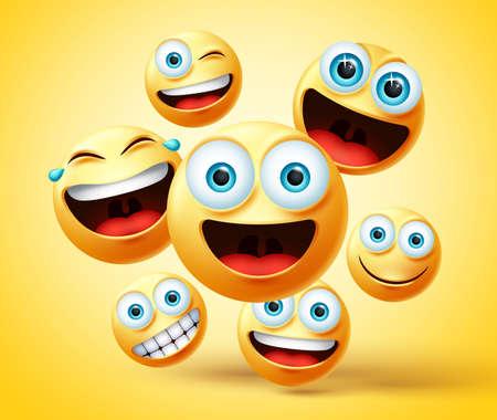 Smiley emotikon i emoji projekt wektor grupy. Emotikony emotikony ładna twarz grupy głowy w szczęśliwym, śmiejącym się, uśmiechniętym, zabawnym i niegrzecznym wyrazie twarzy podczas skakania na żółtym tle. Ilustracja wektorowa. Ilustracje wektorowe