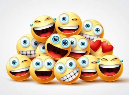Smiley emoji faces group vector design. Smileys emojis yellow circle face group with cute, laughing, funny, surprise and happy emotions in white background. Vector illustration.