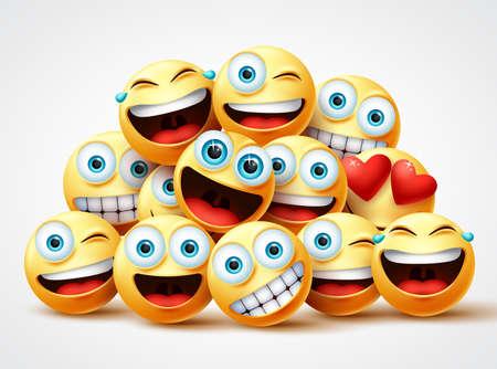 Smiley emoji twarze projekt wektor grupy. Smileys emojis yellow circle face group z uroczymi, roześmianymi, zabawnymi, niespodziankami i szczęśliwymi emocjami na białym tle. Ilustracja wektorowa.