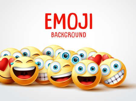Koncepcja śmieszne tło wektor emoji. Tekst tła emoji z grupą emotikonów śmieszne i szczęśliwe z wyrazem twarzy w białym tle pustej przestrzeni. Ilustracja wektorowa.
