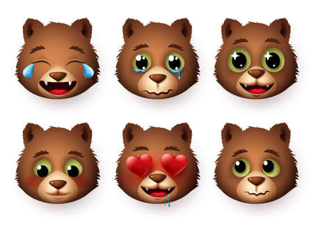 Emojis panda vector set. Pandas emoticon and emoji animal faces in different expressions with in love, crying, shy, scared, excites and laughing isolated in white background. Vector illustration.