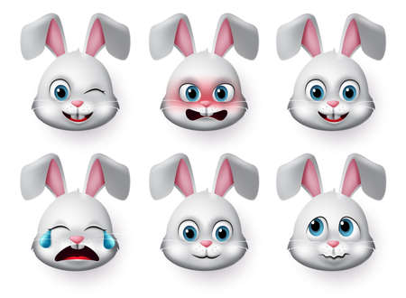 Emoticon rabbit face vector set. Rabbit or bunny emojis and emotions animal face with angry, crying, scared and cute faces for character sign and symbol isolated in white background. Vector illustration.