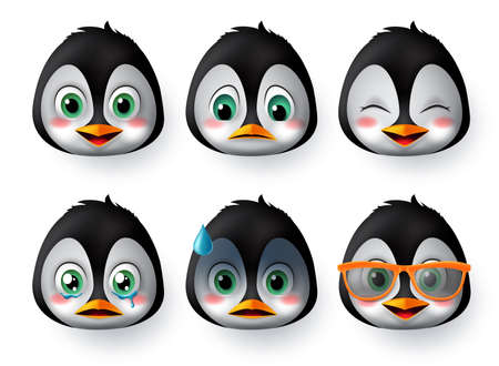 Penguins emoji or emoticon face vector set. Penguin emoji animal face wearing sunglasses with happy, scared, crying, and sad emotions for avatar and character  collection isolated in white background. Vector illustration.