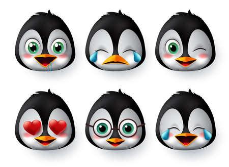 Emoticon- oder Emojis-Pinguin-Gesichtsvektorsatz. Pinguine emoji Tiergesichter mit verliebten, weinenden, lachenden, süßen und hungrigen Gesichtsausdrücken einzeln auf weißem Hintergrund. Vektor-Illustration.