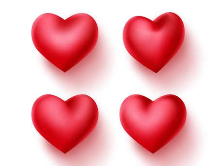 Hart valentines vector decoratie set. Rood hartenelement voor valentijnskaartteken en symbool dat in lege witte achtergrond wordt geïsoleerd. 3D-realistische vectorillustratie. Vector Illustratie