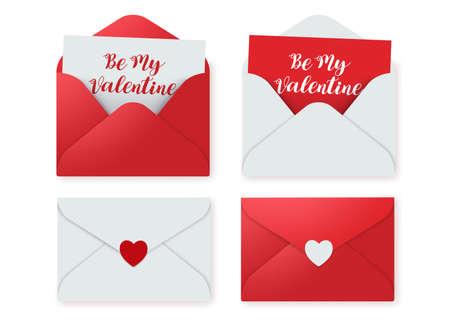 Insieme di elementi di vettore di lettere d'amore. Lettera d'amore di invito rosso carta di San Valentino con messaggio isolato in uno sfondo bianco. Illustrazione vettoriale.