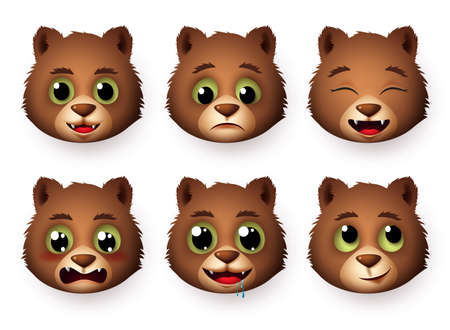 Panda emojis face vector set. Pandas bear head emoticon animal in hungry, thinking and crying for sign and symbol character collection isolated in white background. Vector illustration.