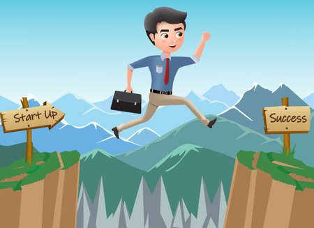 Business character journey to success vector concept. Business man character jumping risk for achievement and promotion process in mountain background. Vector illustration. Ilustrace