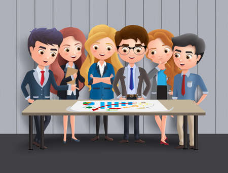 Business characters meeting vector concept. Business character office employee team in meeting for marketing sales and brainstorming ideas. Vector illustration. Stock fotó - 137880138