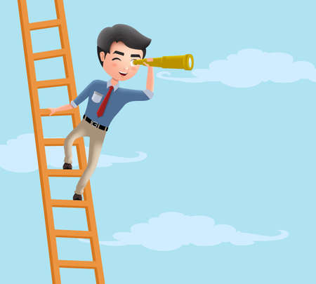 Business character looking vector concept. Male business character climbing in ladder while holding telescope searching for career opportunity. Vector illustration.