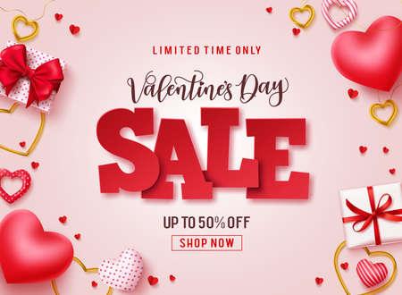 Banner promocional de vector de venta de día de San Valentín. Texto de venta con corazones, regalos y elementos de joyería en fondo rosa para la promoción de descuento del día de San Valentín. Ilustración de vector.