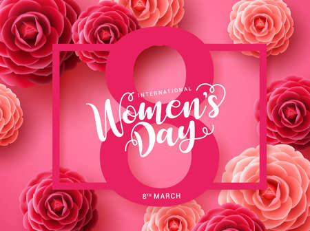 Women's day vector concept design. March 8 greeting text with pink frame and camellia flowers background for international women's day. Vector illustration Stock Illustratie